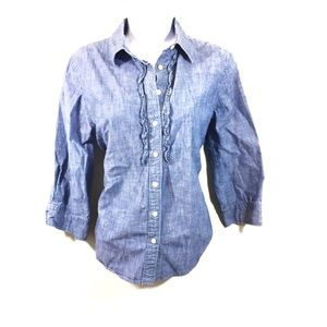 Lands' End Denim Colored Button Down with Ruffles